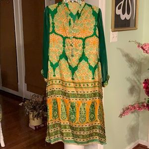 Green Agha Noor small Kurta silk Chiffon